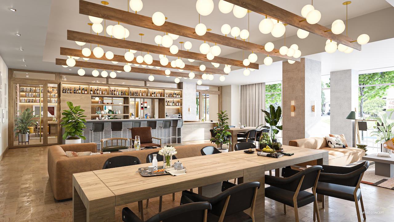 Natiivo Austin's spacious event room with a bar, dining and lounge area